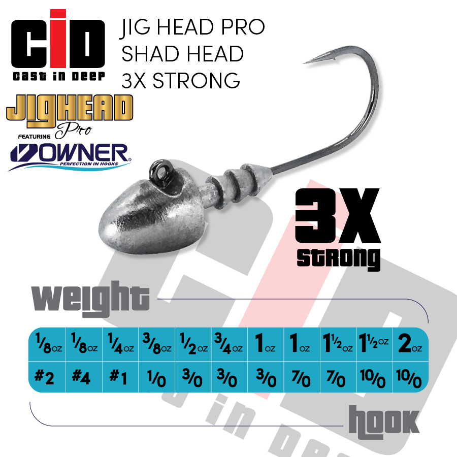 CID Jig Head Pro with OWNER Hooks Shad Head 3X Strong