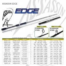 ASSASSIN EDGE  MULTIPLE ACTION SPINNING 1 & 2 PIECE Bass/ Estuary rods